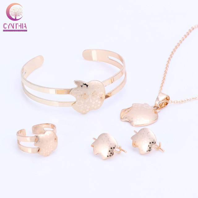 Baby fasnhion jewelry golden apple pendant earrings ring pendant baby fasnhion jewelry golden apple pendant earrings ring pendant necklace bangle jewelry sets for children girls mozeypictures Image collections