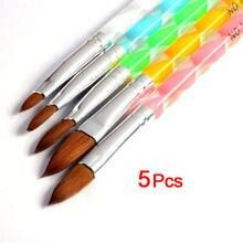 Conjunto de escova para pintura em unha, 5 peças de ferramentas de acrílico uv gel, pintura, desenho, canetas, empurrador de cutícula, ferramenta colorida