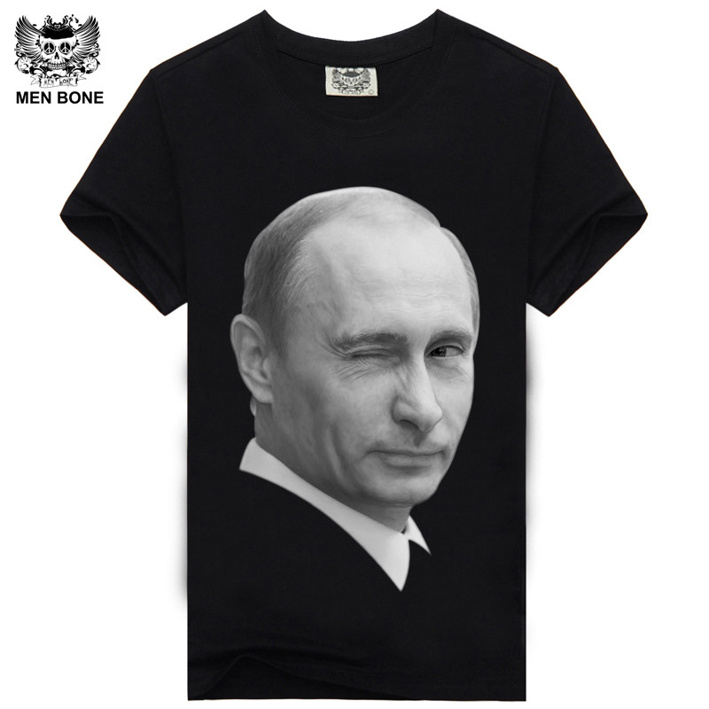 [Heren been] Katoenen Heren T-shirt Zwart Tshirt Mr Putin Print Rock Hiphop Punk Heavy Metal Zwart T-shirt Homme Camisa Masculina