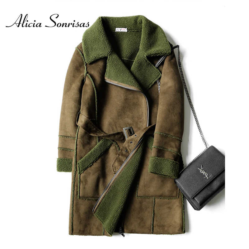 13cdf28b122 Women s Winter Long Faux Sheepskinn Coat Warm Suede Jacket Loose Street Lamb  Fur Warm Motorcycle Biker