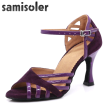 Samisoler White/B New Cloth Collocation Shine Ribbons Ballroom Fashion Dance Women Latin Competition Shoes