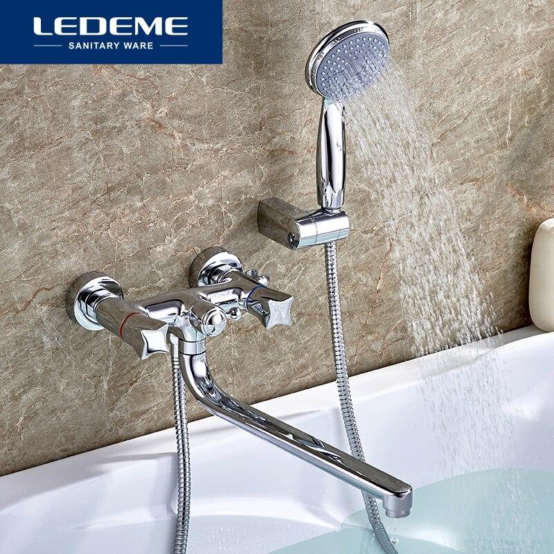 LEDEME Смеситель для ванны с длинным изливом 300 мм. латунь Цвет: хром L2687