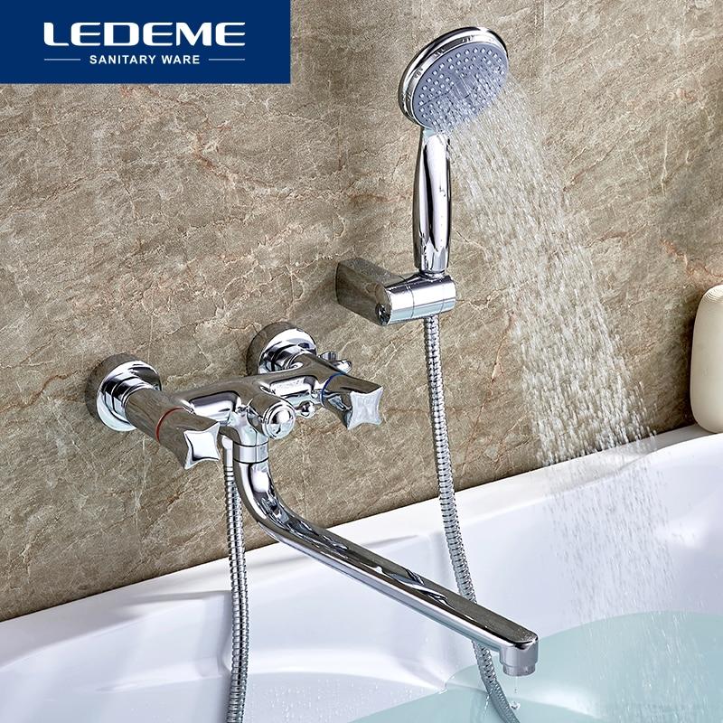 LEDEME Bathroom Bathtub Faucets New Bath Faucet Chrome Finish Mixer Tap Outlet Pipe Shower Wall Mounted Shower Faucet Set L2687