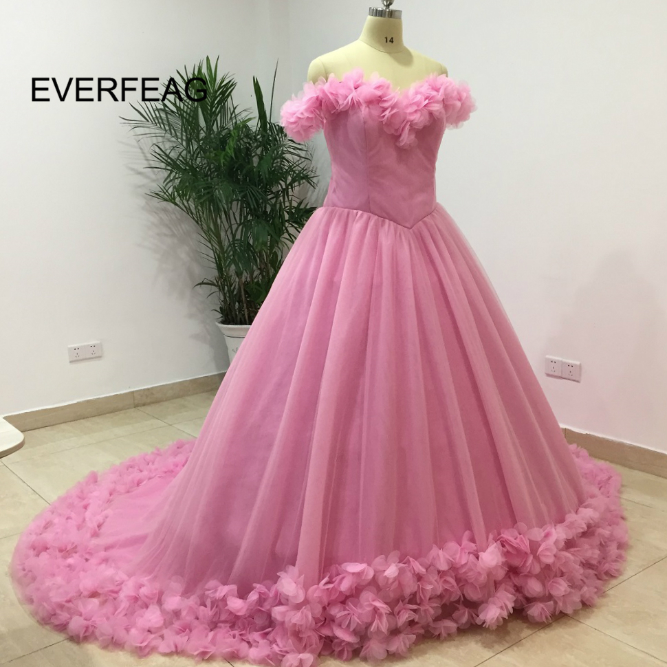 2018 Real Pink Wedding Dresses with Flowers Ball Gown Floor Length ...