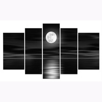 100% Hand painted Oil Wall Art Sea White Full Moon Night Home Decoration Abstract Landscape Oil Painting on Canvas 5pcs/set new