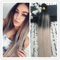 Full Shine 2016 Cheap Wholesale New Fall Fashion 100 Real Human Hair Extensions Ombre Color #1B#18 Sew in Human Hair Weave