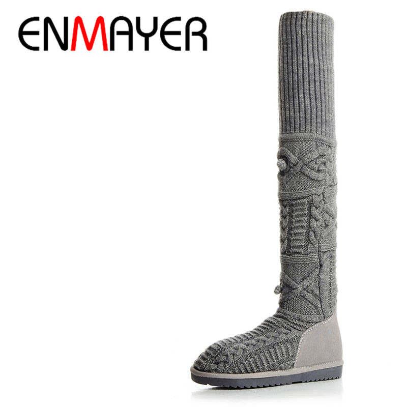 ФОТО ENMAYER Low Heels Big Size 34-42Winter Warm Boots Shoes Woman Black Gray Shoes Wool Knitting Cow Split Over-the-knee Boots Flats