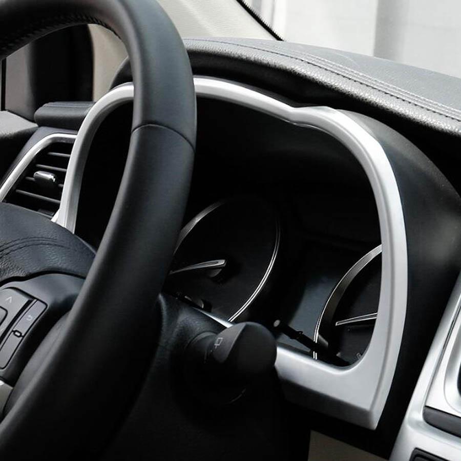YAQUICKA Car Dashboard Instrument Frame Trim Styling Sticker For Toyota Highlander 2015-2017 ABS Matte Silver Interior Accessory