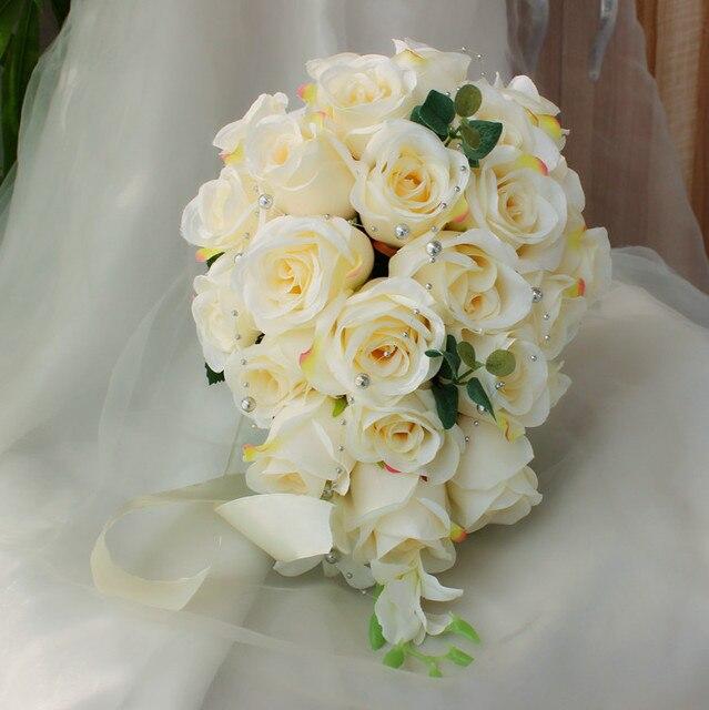 Bouquet Sposa Economico.Us 36 99 2017 Bouquet De Mariage Economici Avorio Beige Teardrop Bouquet Da Sposa Damigella D Onore Wedding Bouquet Artificiale Della Rosa Bouquet