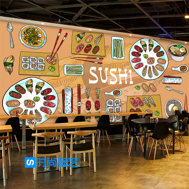 Custom d mural wallpaper japanese sushi restaurant