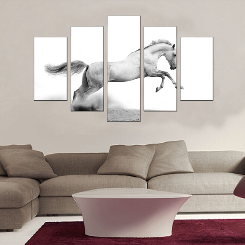 White Horse Canvas Paintings For Living Room Wall Animal Pictures 5 Panel Decorative Art