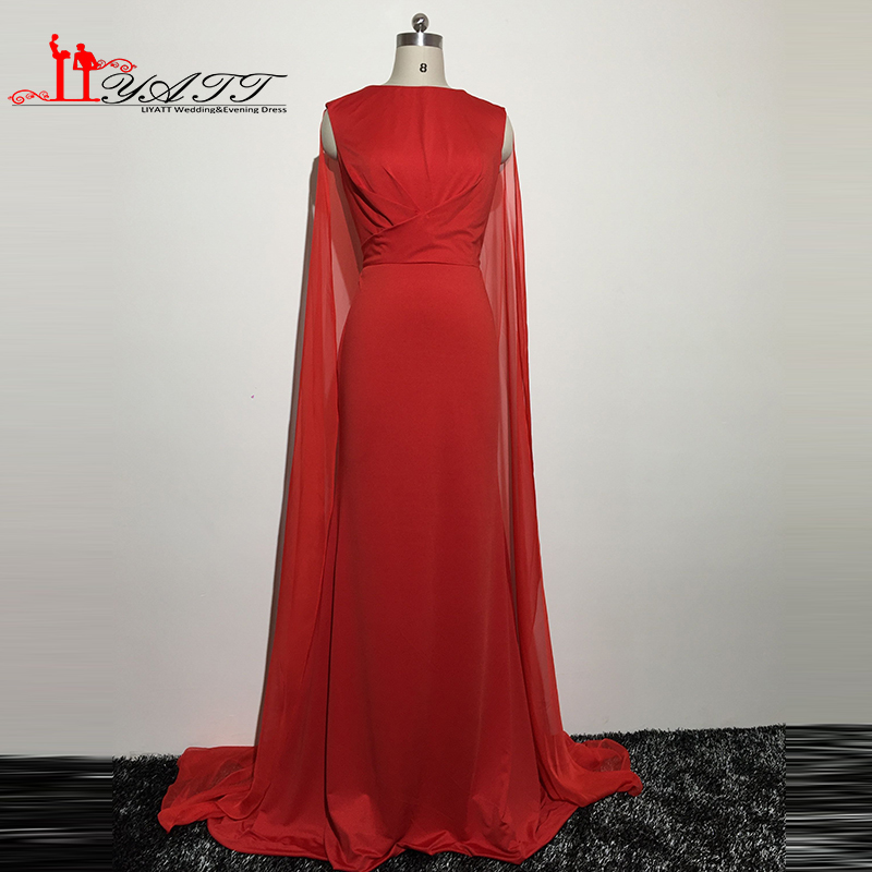Real Picture 2016 New Arrival Red Spandex Hot Selling Simple Cheap Evening Prom Dresses With Shawl Aramex Robe De Soiree Longue image