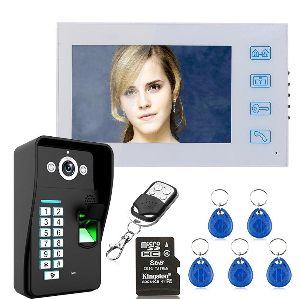 7 Recording Fingerprint Recognition RFID Password Video Door Phone Intercom Doorbell With 8G TF Card Night Vision7 Recording Fingerprint Recognition RFID Password Video Door Phone Intercom Doorbell With 8G TF Card Night Vision