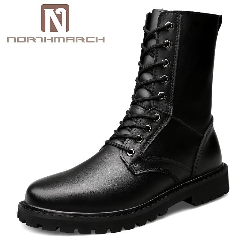 NORTHMARCH bottes militaires hommes automne hiver bottes en cuir Homme haute qualité moto bottes Coturnos Masculino Chaussures Homme