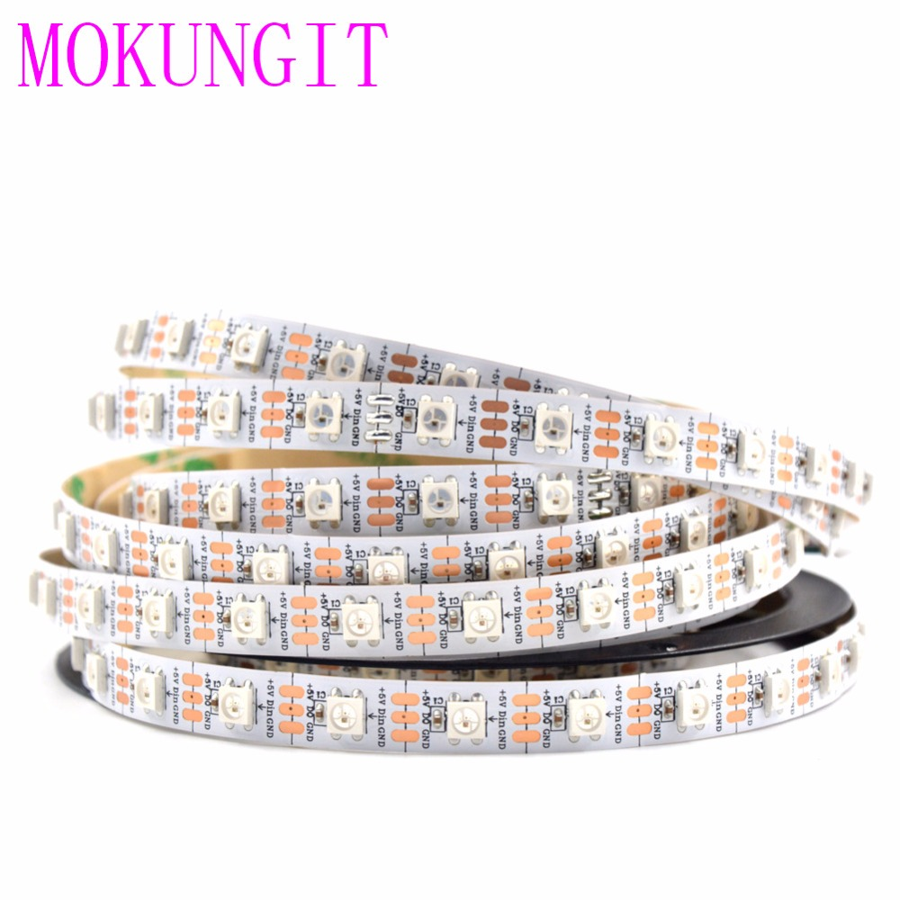 5V Addressable WS2812B 5050 RGB LED Strip 5M 300 SMD 60Leds//m Flex Rope Light
