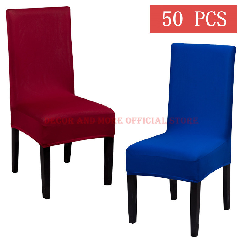 50pcs Poly Stretch Dining Chair Cover For Home Hotel