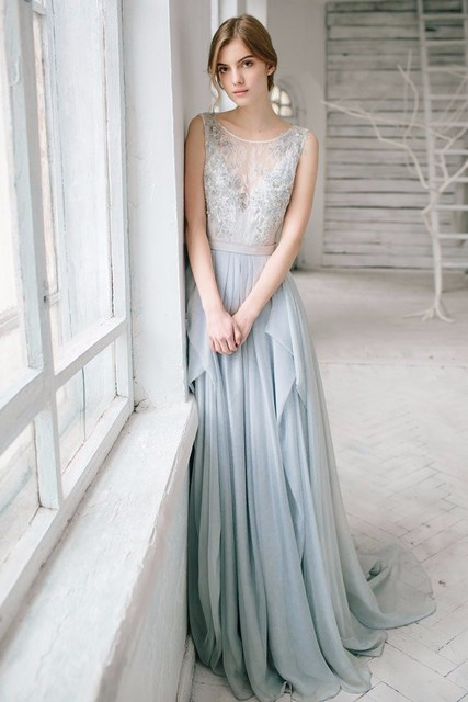 Boho Light Blue Beach Wedding Dresses Bohemian See Through Lace Liques Asymmetrical Chiffon Bridal Gowns Vestido