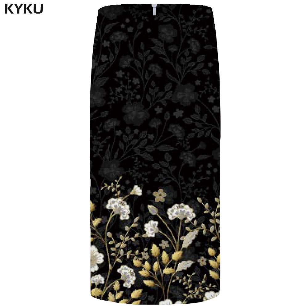 KYKU Flower Skirts Women Black 3d Print Leaves Casual Retro Pencil Floral Sexy Ladies Skirts Womens Funny Sundresses