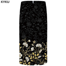 KYKU Flower Skirts Women Black 3d Print Leaves Casual Retro Pencil Floral Sexy Ladies Womens Funny Sundresses