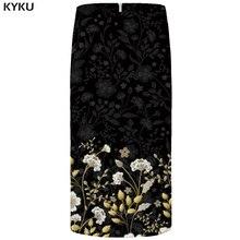 цены на KYKU Flower Skirts Women Black 3d Print Leaves Casual Retro Pencil Floral Sexy Ladies Skirts Womens Funny Sundresses  в интернет-магазинах