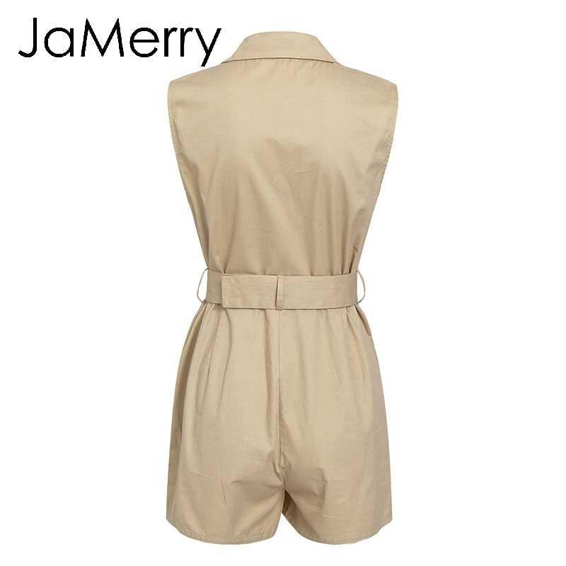 JaMerry винтажные модные пояса хаки женский игровой костюм весна лето Карманы комбинезон на кнопках элегантный комбинезон на молнии офисные женские