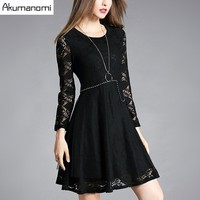 Autum Winter Lace Dress Beading Hollow Out Solid Black Full Sleeve Women Clothes Spring Dress Plus
