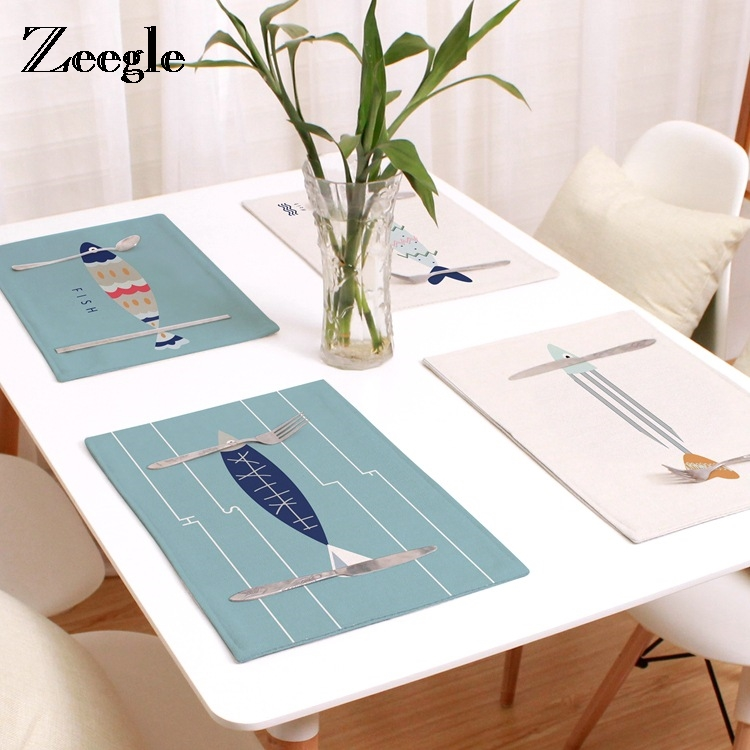Zeegle Linen Pictographic Fish Pattern Placemat Home Decorative Table Mat Kitchen Table Mats Table Napkin Cloth