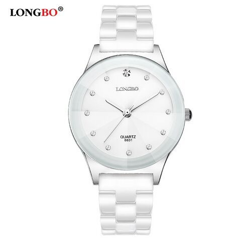 LONGBO Luxury Brand Rhinestone Business Casual Men Fashion Clock Leisure Water Resistant Women Dress White Ceramic Quartz Watch