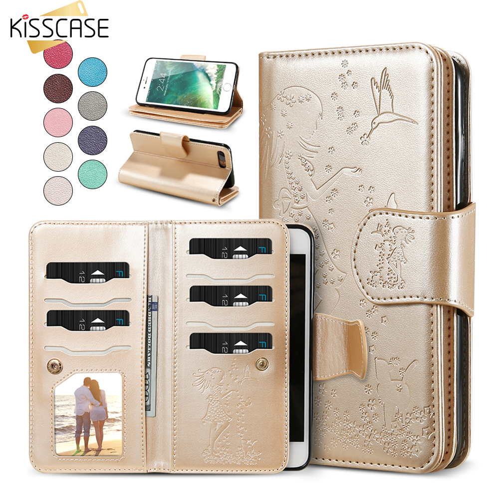 KISSCASE spiegel pocket Stand Wallet Case Voor iPhone 5 5s SE 6s Plus flip case portemonnee Voor iPhone 7 8 Plus Leather Cover Capinhas