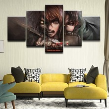 Canvas Print Poster Home Decor Wall Art 5 Pieces Attack on Titan Eren Yeager Levi Ackerman Shingeki No Kyojin Painting Pictures