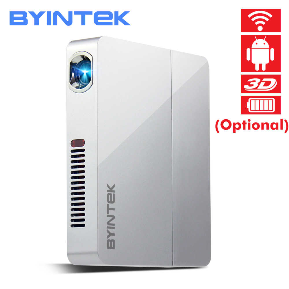 BYINTEK OVNI R9 Smart Android WIFI Video Micro DLP portátil Mini LED 3D proyector Full HD 1080P a casa teatro de oficina de negocios