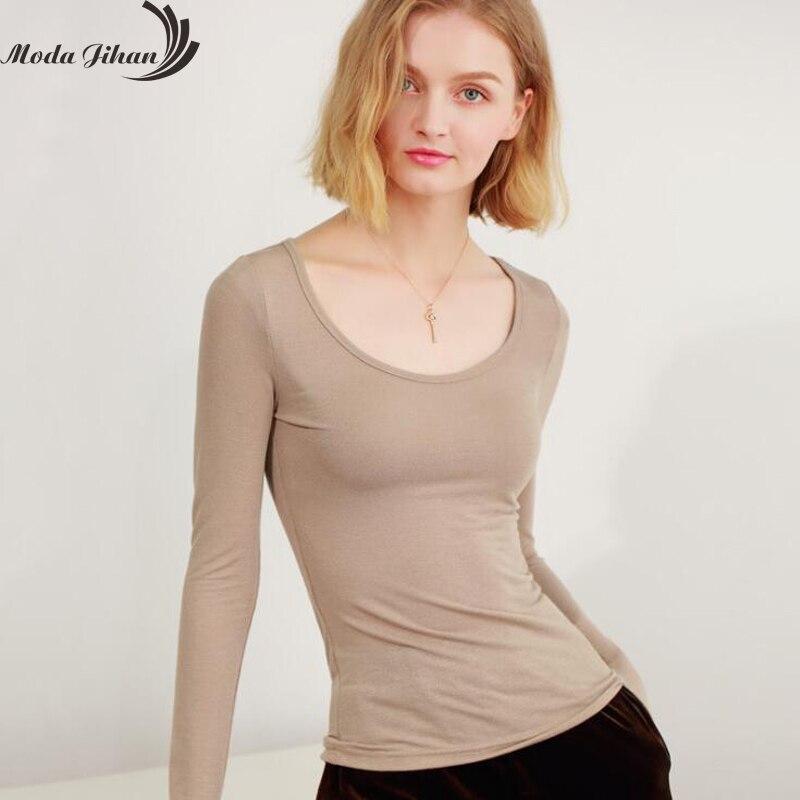 Moda Jihan 2018 Autumn Woman's Casual T-shirt O-Neck Long Sleeve T Shirt Plus Size Blusas Roupas Femininas Basic Tops Stretchy