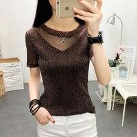 Inplusni Women T shirt 2019 new sexy mesh shirt summer wild thin lady T shirt female short sleeve