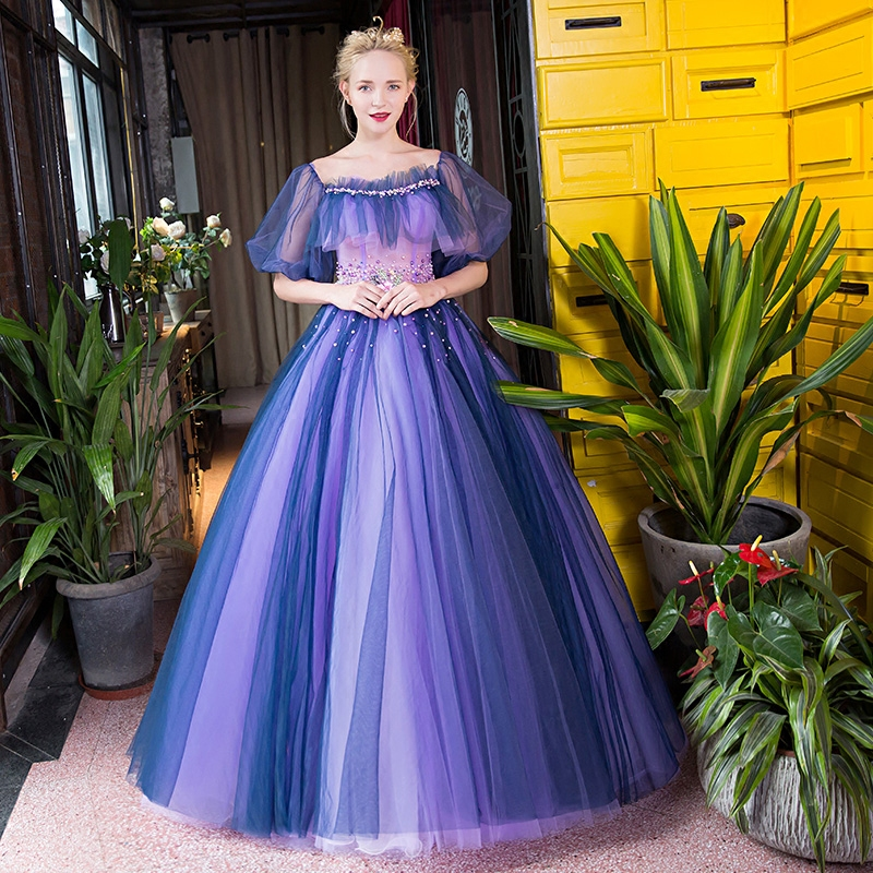 Customized Elegant Purple Soft Tulle Costume Square Collar Floor Length Party Dress