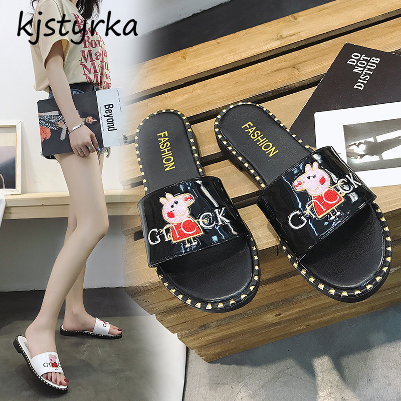 Kjstyrka 2018 Brand Designer Summer Women Open toe flat Slippers ladies lovely Slides Female Sandals Zapatillas mujer