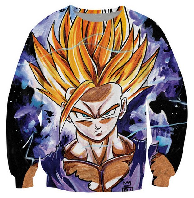 2016 new style Sweatshirt Dragon Ball Z teenaged Gohan super saiyan 3d Print Sweats Women Men Fashion Clothing Outfits Jumper