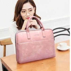 Image 5 - Mode Vrouwen Lederen Laptop Tas Voor Toshiba Samsung Sony 15.6 13.3 14.1 Inch Computer Tas Vrouwen Messenger Bag Met power Zak