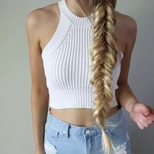 2016 Brandy Melville off shoulder knitted bustier crop top Women round neck elastic tube tank tops Beach sexy camis