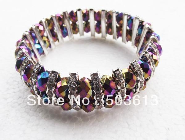 one piece 2-Tiers Rainbow Crystal Beads Bangle Bracelet With Rhinestone Free Shipping jy100