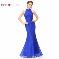 Women S Long Sapphire Blue Prom Dresses Ever Pretty EP08865 Sexy Halter Lace Summer Style Party