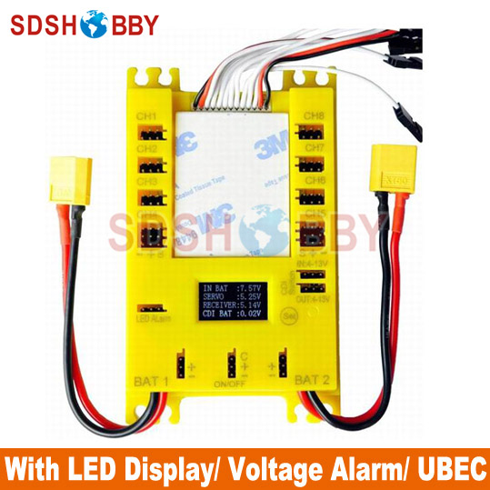 NEW Mini Servo Distribution Board Section Board 4105 with LED Screen Voltage Alarm UBEC Yellow Color