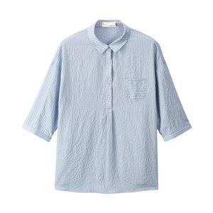 Image 5 - INMAN Summer Turn Down Collar Retro Striped Korean Fashion Literary All Matched Half Sleeves Women Shirt