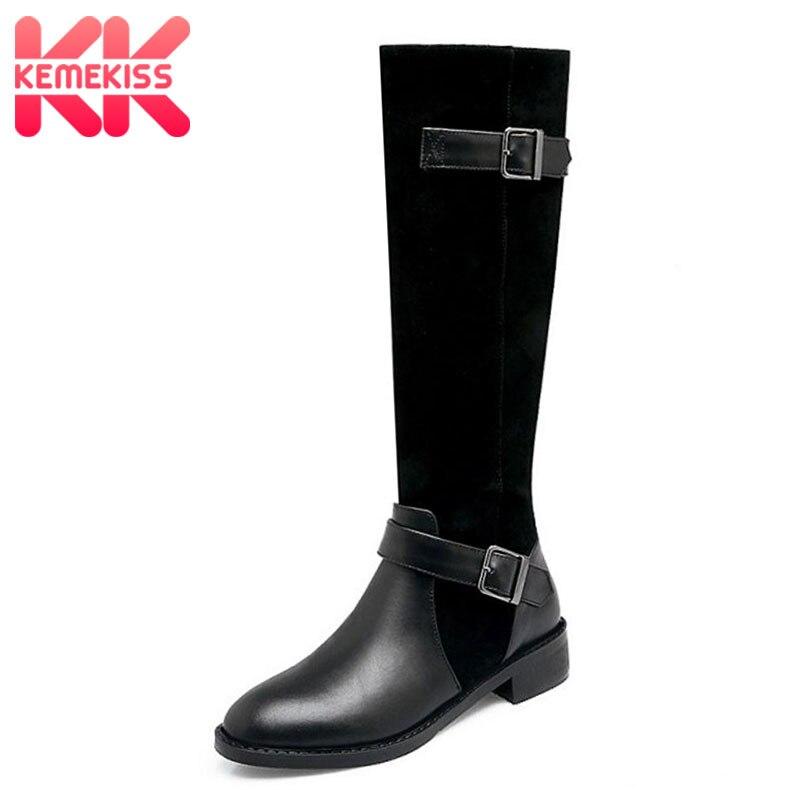 KemeKiss Women Real Leather Over Knee Boots High Heel Boots Zipper Buckle Knight Boots In Winter Shoes Women Footwear Size 34-39