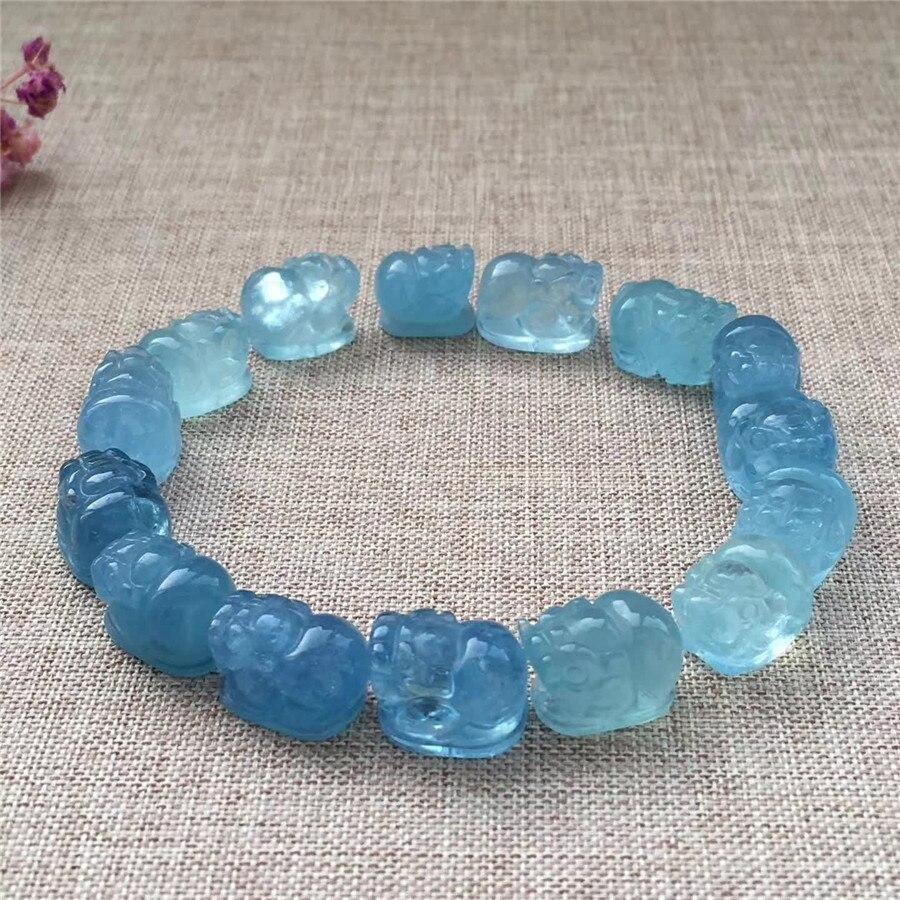 Genuine Blue Natural Stone Bracelets Pi Xiu Shape Crystal Bead Stretch Power Bracelets For Women Men AAAAA