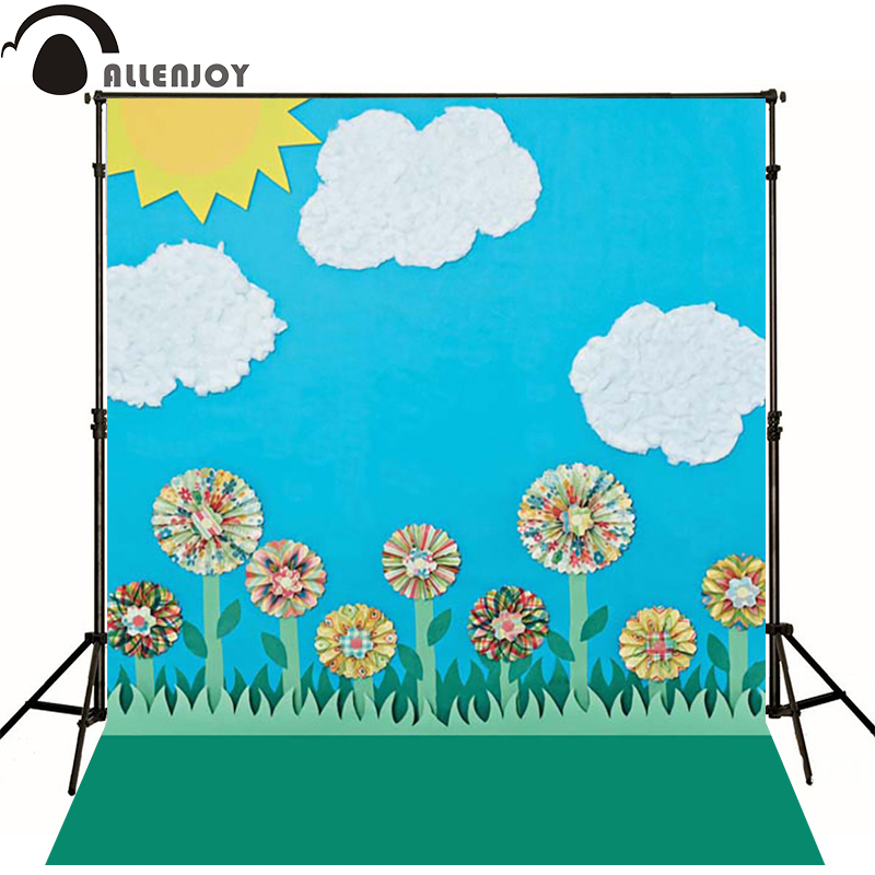 Allenjoy Photographic background Sun flower cloud blue sky newborn vinyl backdrops  photography baby shower  send rolled send rolled sunny sky backdrop vintage white cloud blue sky printed fabric photography background f0150