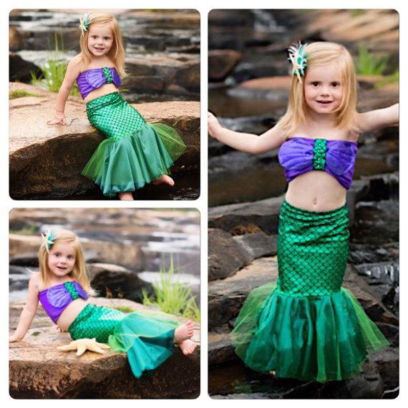 3Pcs Lovely 3-12Y Child Bikini Swimming Suit Swimmable Mermaid Tails Costumes For Girls Halloween Fancy Princess Cosplay Dresses