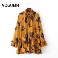 VOGUE!N New Womens Ladies Floral Print Bow Tie Ruffled Long Sleeve Plus Size Loose Mini Dress Yellow Pink