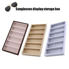 Sunglasses Storage Box 6 Slots Eyeglass Display Organizer Sunglasses Jewelry Display Storage Box Case