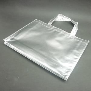 Image 4 - 10 piezas personalizadas película láser Laminado metálico cosido bolso para compras no tejido bolsa Color plata