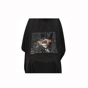 Image 3 - 115*80cm profissional à prova dwaterproof água estilo salão de beleza barbeiro cabeleireiro corte cabelo vestido de cabeleireiro capa com visualização avental janela